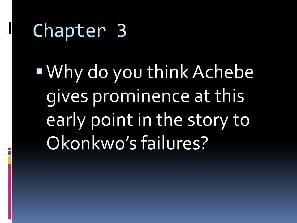ch achebe things fall apart Things fall apart homework help questions what was the most significant theme in achebe's things fall apart while there are several significant themes in things.