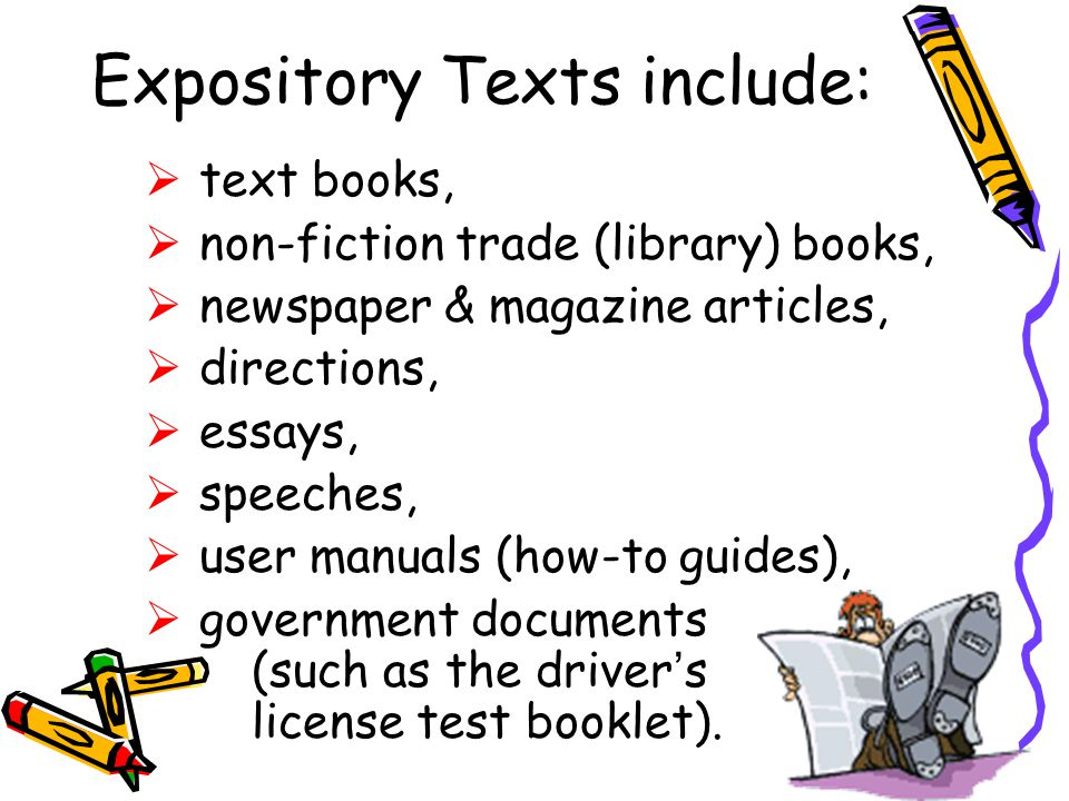expository text essays Every student needs to master the skill of expository essay writing these tips can guide elementary, middle school, and high school writers with writing an.
