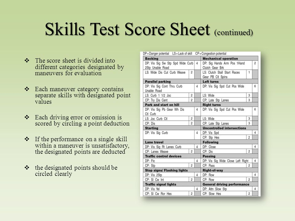 Cdl Skills Test Score Sheet – Wonderful Image Gallery