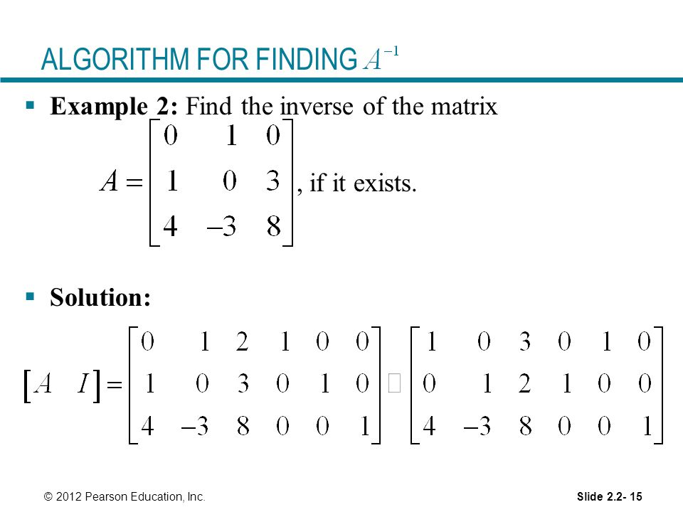 ALGORITHM FOR FINDING Example 2: Find the inverse of the matrix