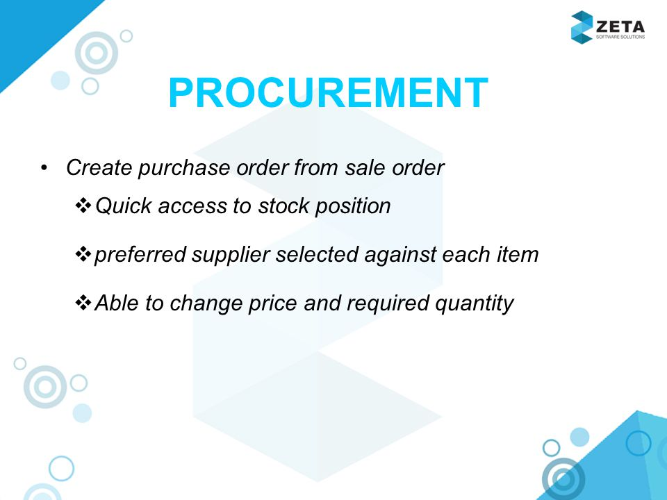 PROCUREMENT Create purchase order from sale order