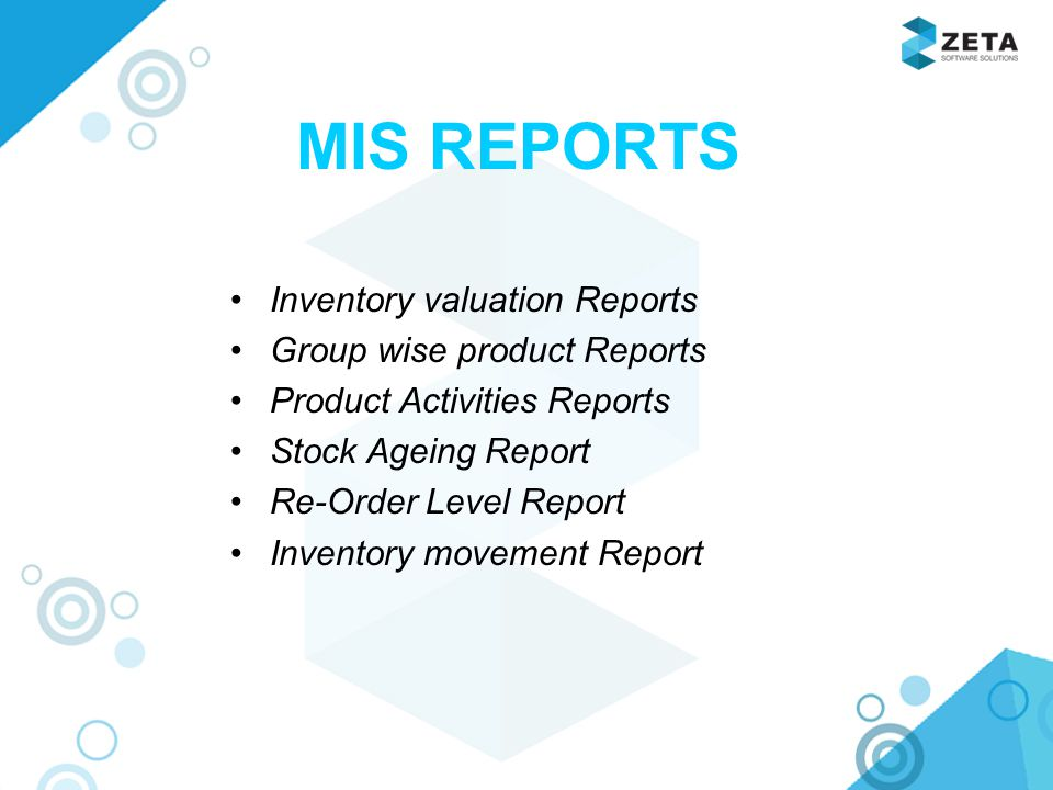 MIS REPORTS Inventory valuation Reports Group wise product Reports