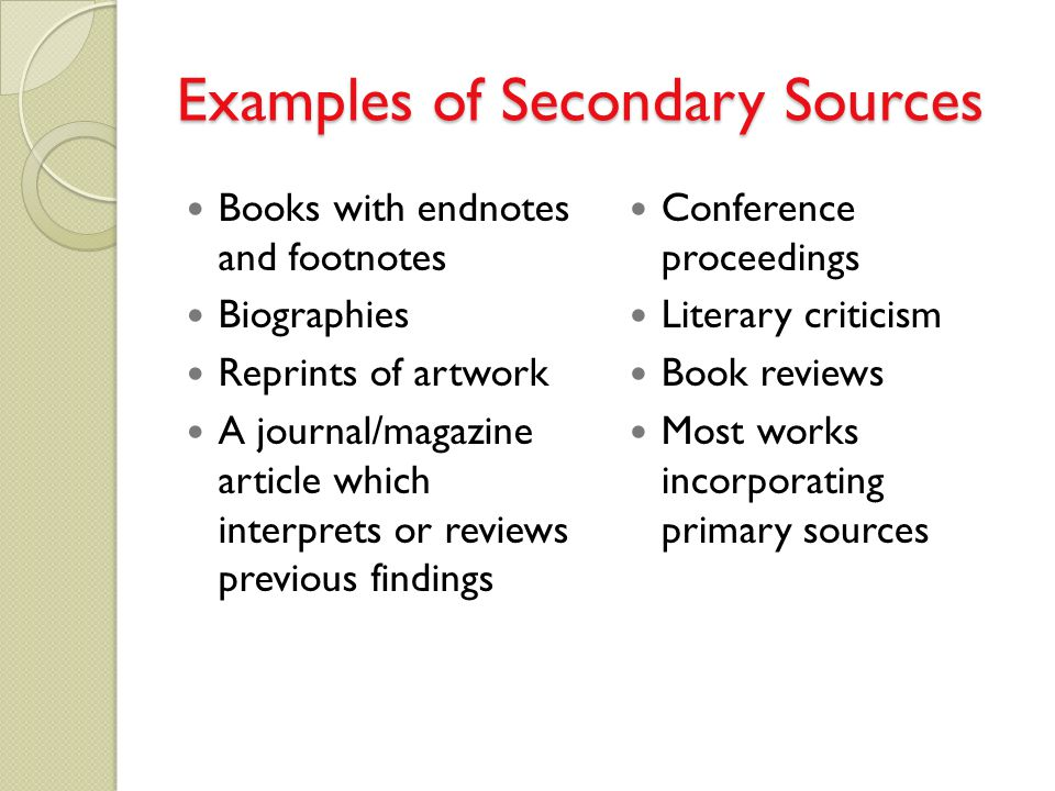 Primary, Secondary and Tertiary Literature in the Sciences ...
