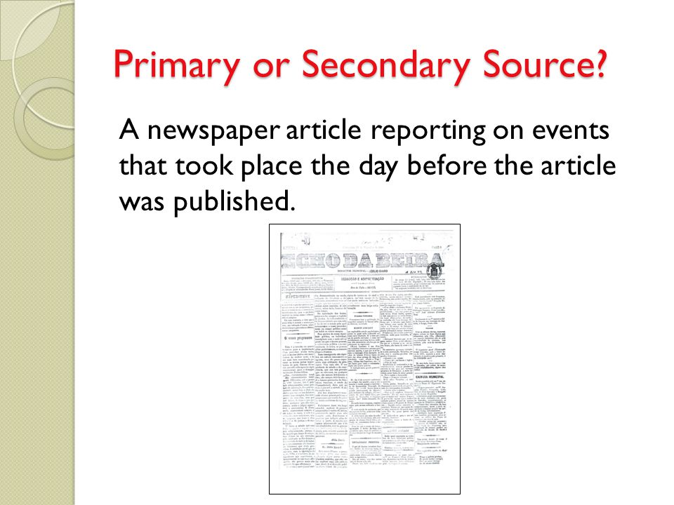 Primary or Secondary Source