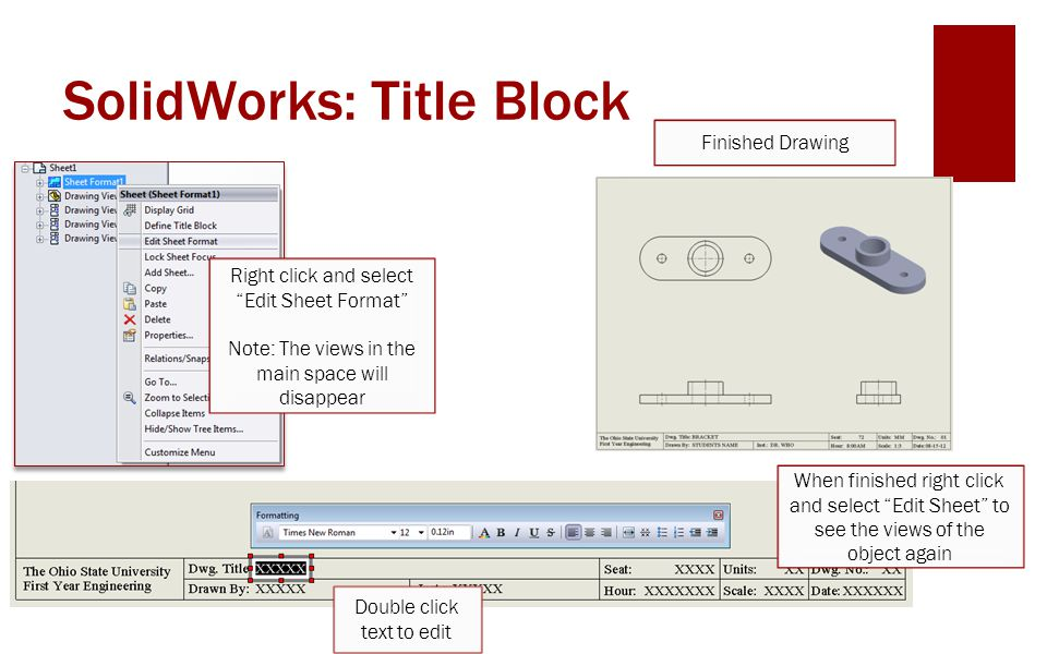 how to write in a title block in solidworks
