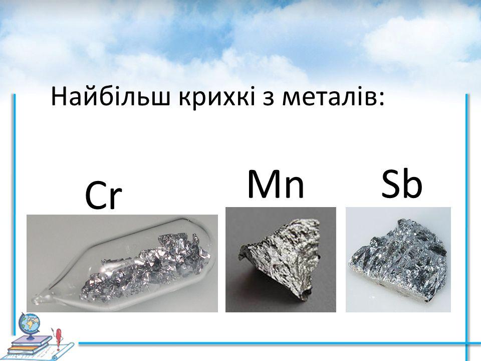Найбільш крихкі з металів: