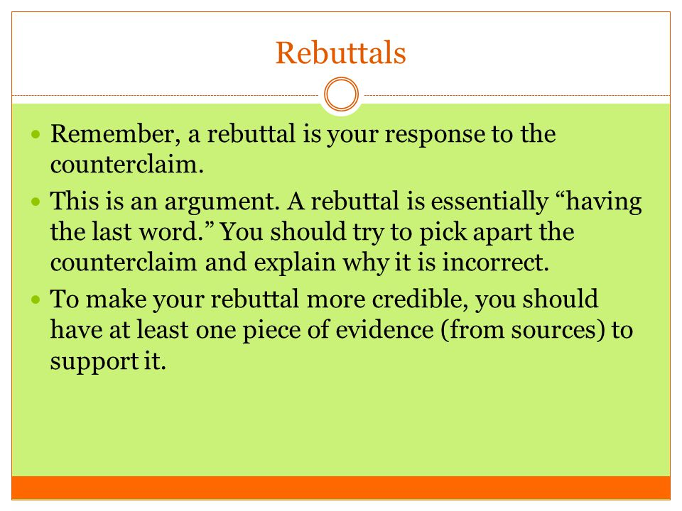how to write a rebuttal argument