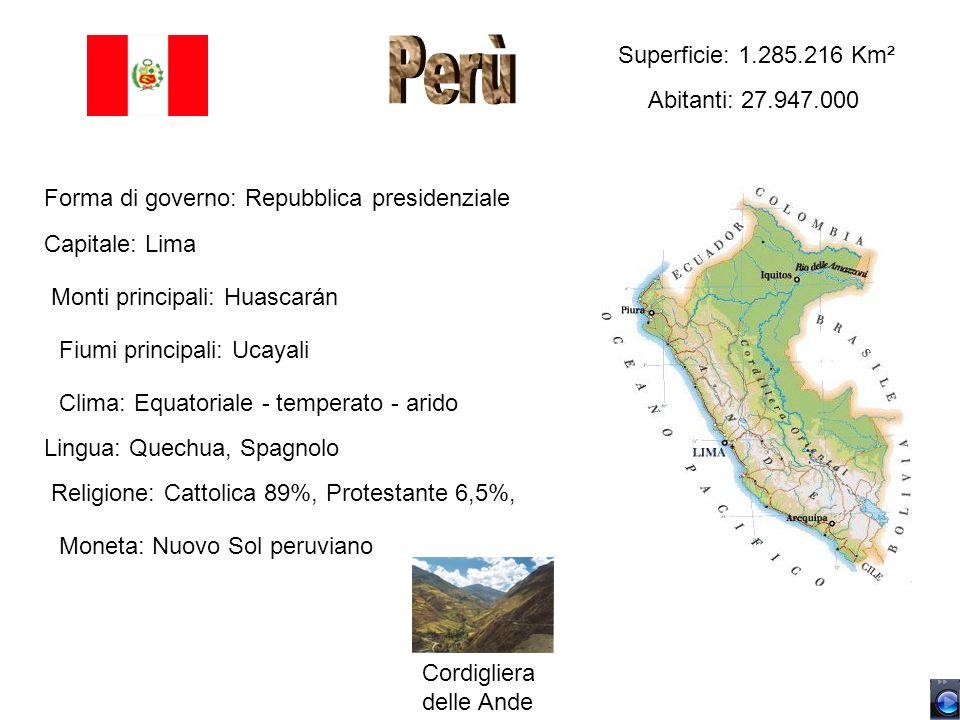 Perù Superficie: 1.285.216 Km² Abitanti: 27.947.000