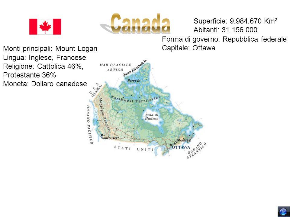 Canada Superficie: 9.984.670 Km² Abitanti: 31.156.000