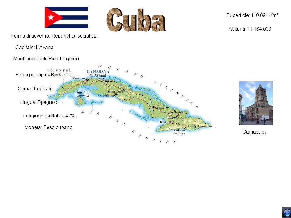 Cuba Superficie: 110.891 Km² Abitanti: 11.184.000