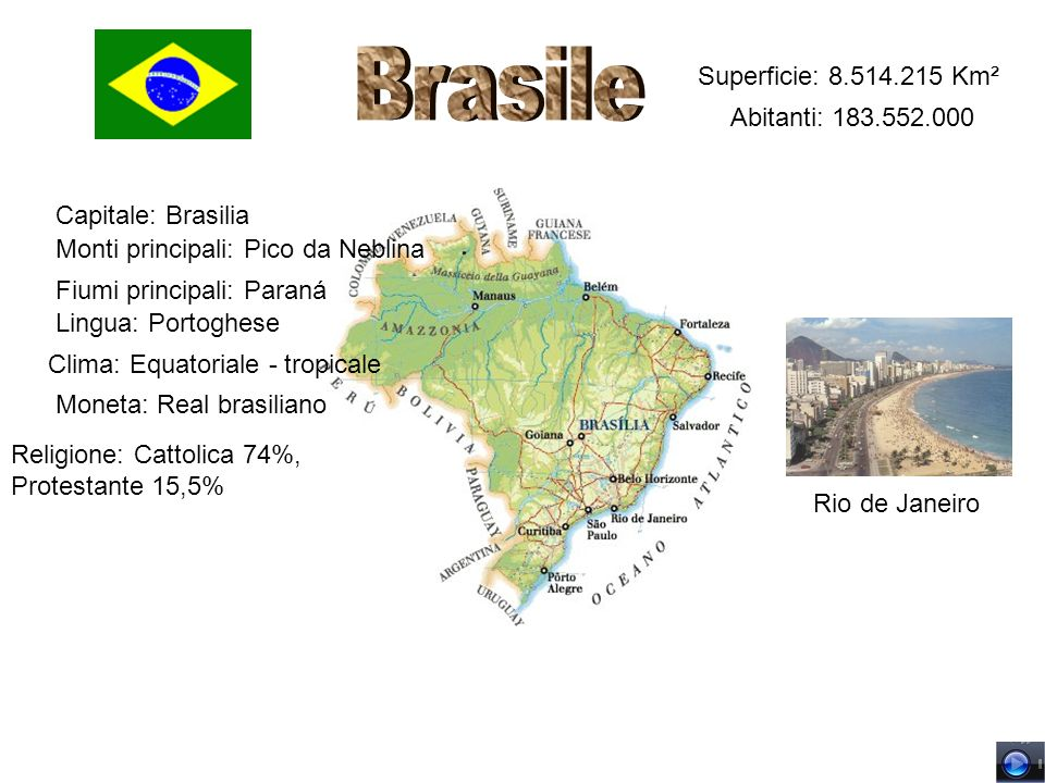 Brasile Superficie: 8.514.215 Km² Abitanti: 183.552.000