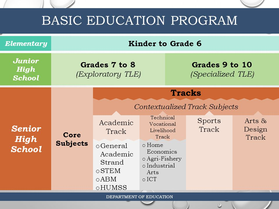 high school and basic education curriculum