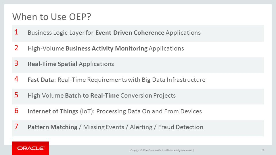 When to Use OEP 1. Business Logic Layer for Event-Driven Coherence Applications. 2. High-Volume Business Activity Monitoring Applications.