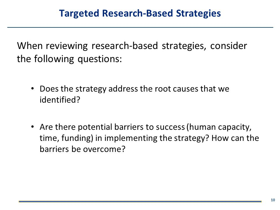 Targeted Research-Based Strategies