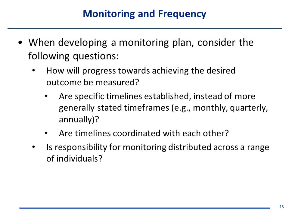 Monitoring and Frequency