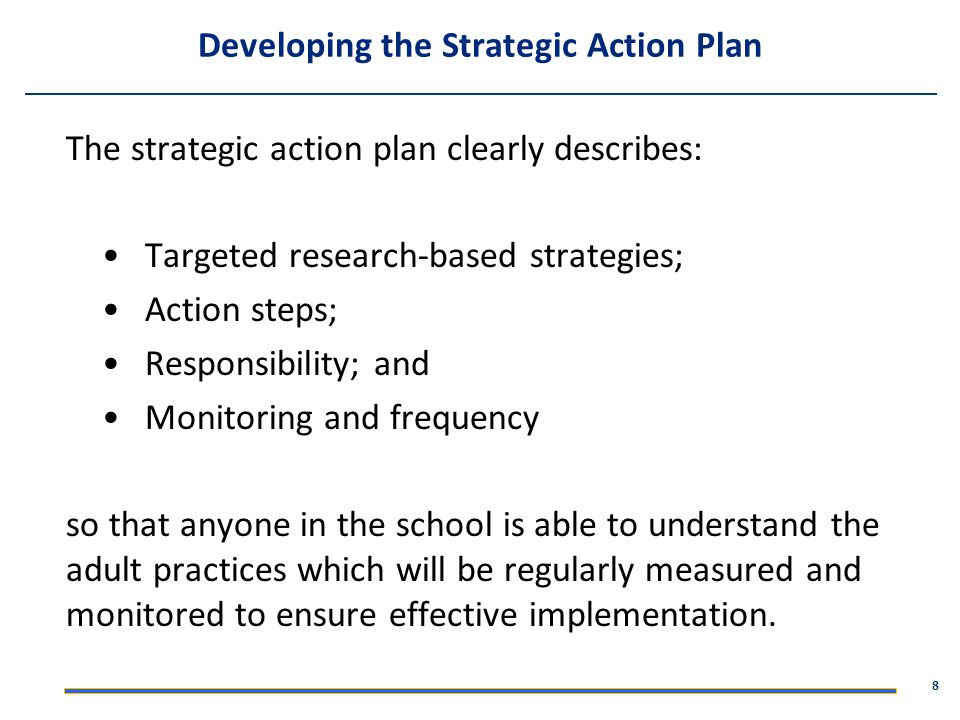 Developing the Strategic Action Plan