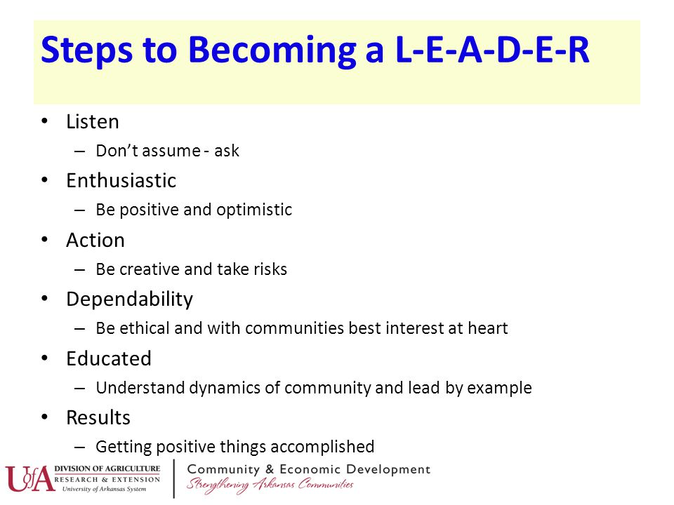 Steps to Becoming a L-E-A-D-E-R