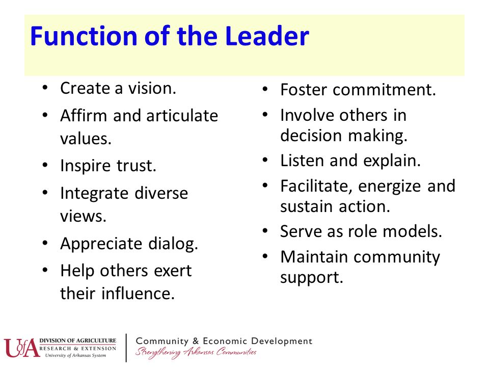 Function of the Leader Create a vision. Foster commitment.