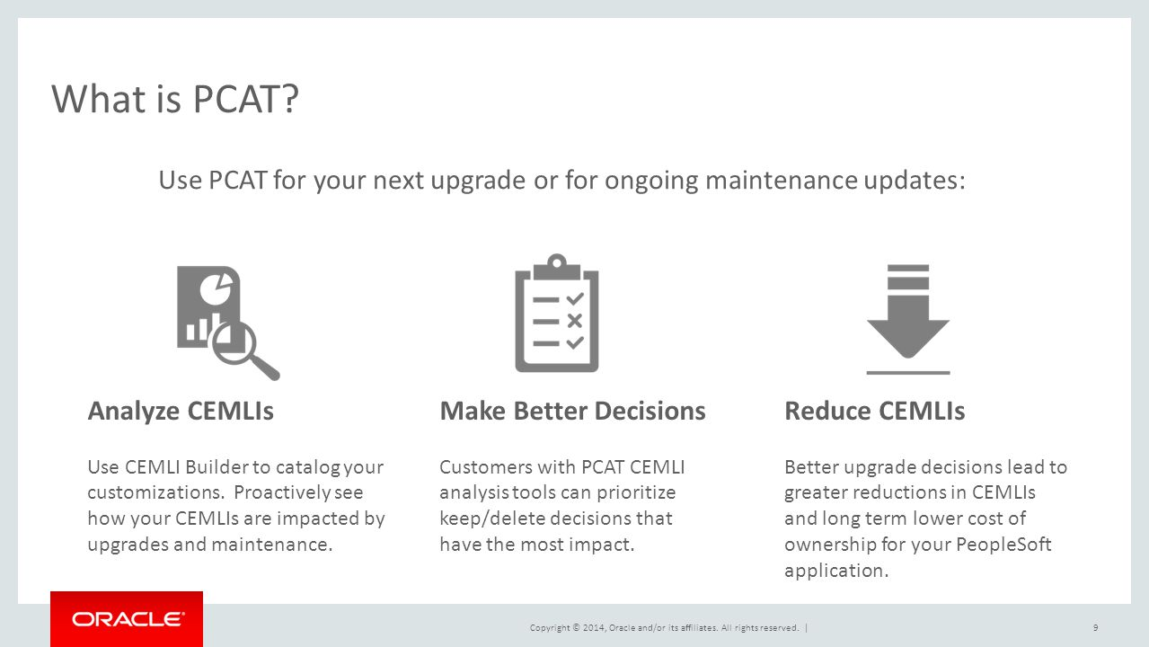 What is PCAT Use PCAT for your next upgrade or for ongoing maintenance updates: Analyze CEMLIs.