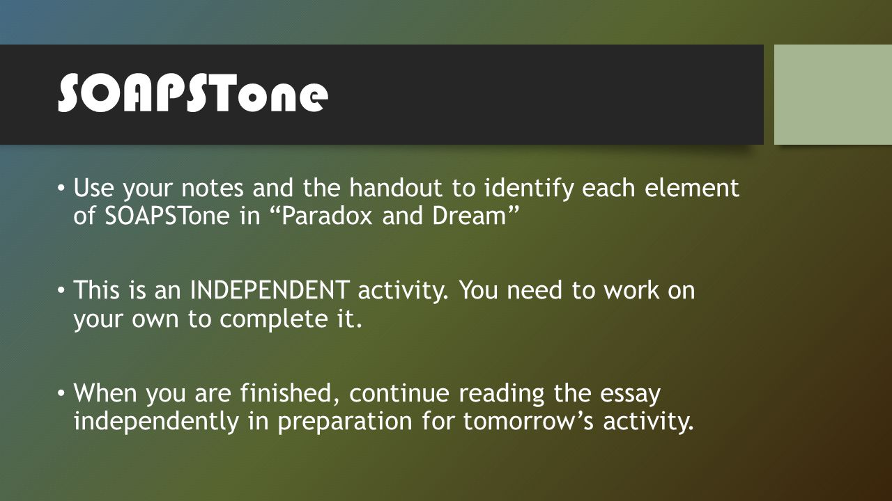 journal entry describe how you are a paradox ppt video online 11 soapstone