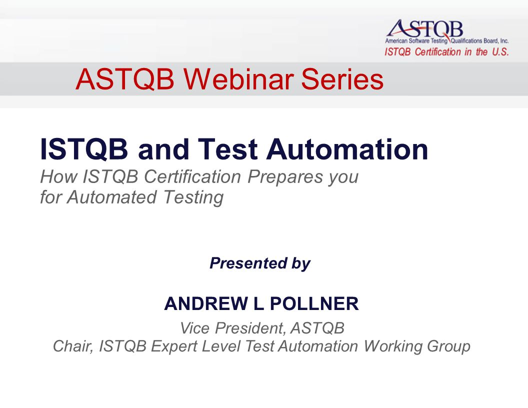 1 ppt video online download chair istqb expert level test automation working group xflitez Images