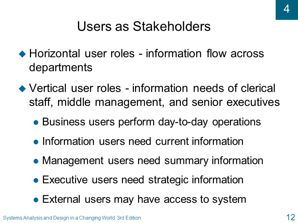 Users as Stakeholders Horizontal user roles - information flow across departments.