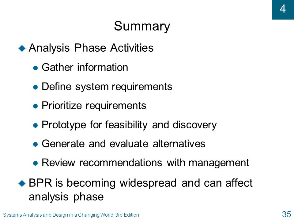 Summary Analysis Phase Activities