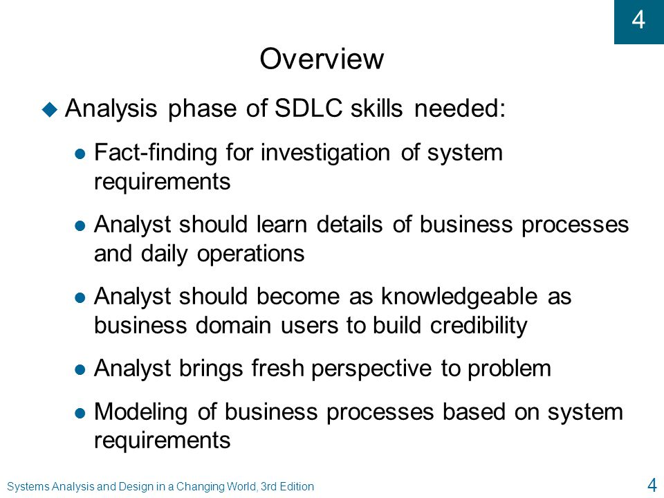 Overview Analysis phase of SDLC skills needed: