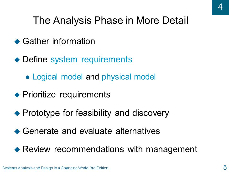 The Analysis Phase in More Detail