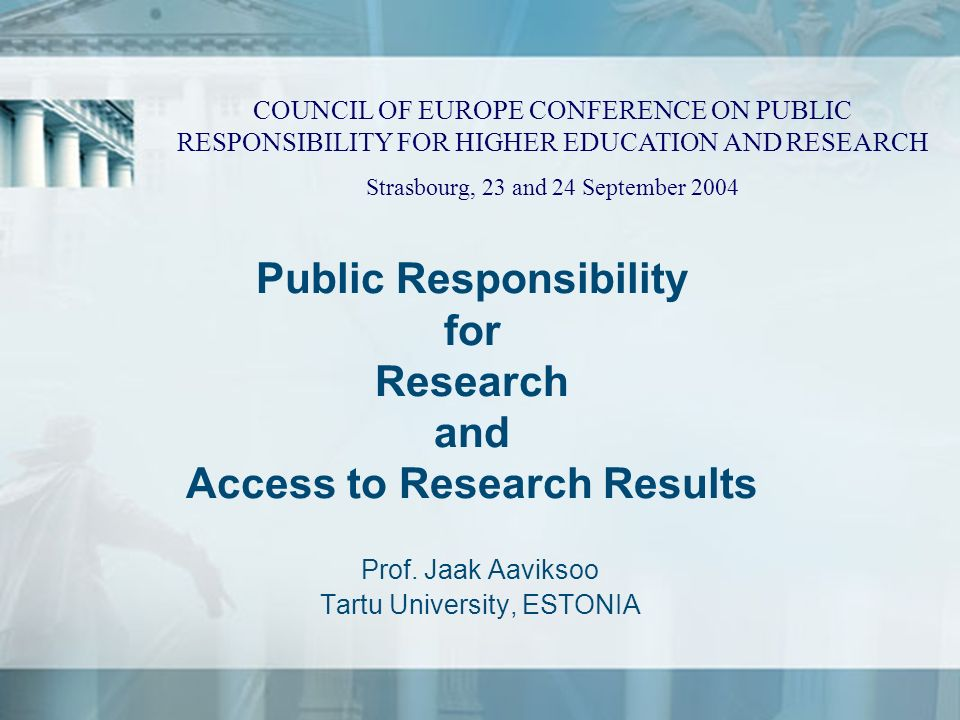 Public Responsibility for Research and Access to Research Results