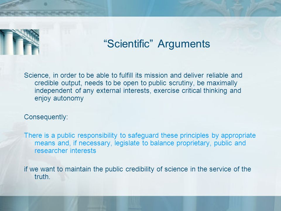 Scientific Arguments
