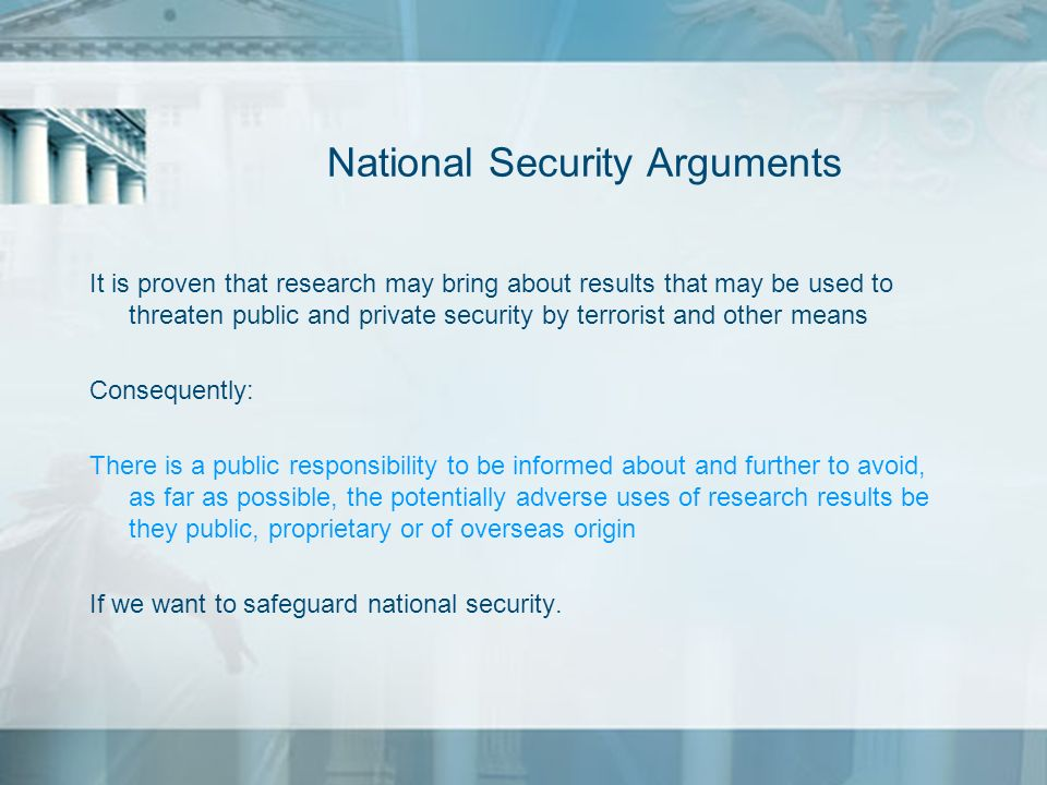 National Security Arguments