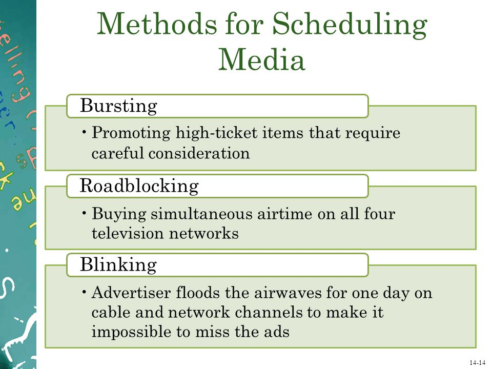 Methods for Scheduling Media
