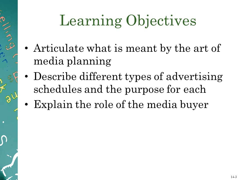 Learning Objectives Articulate what is meant by the art of media planning.