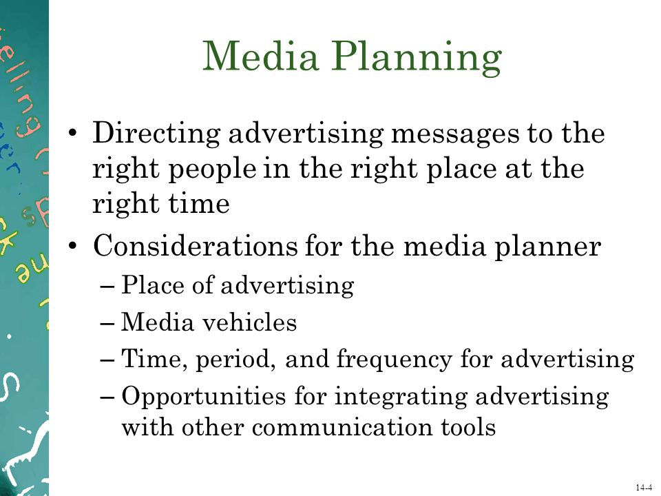 Media Planning Directing advertising messages to the right people in the right place at the right time.
