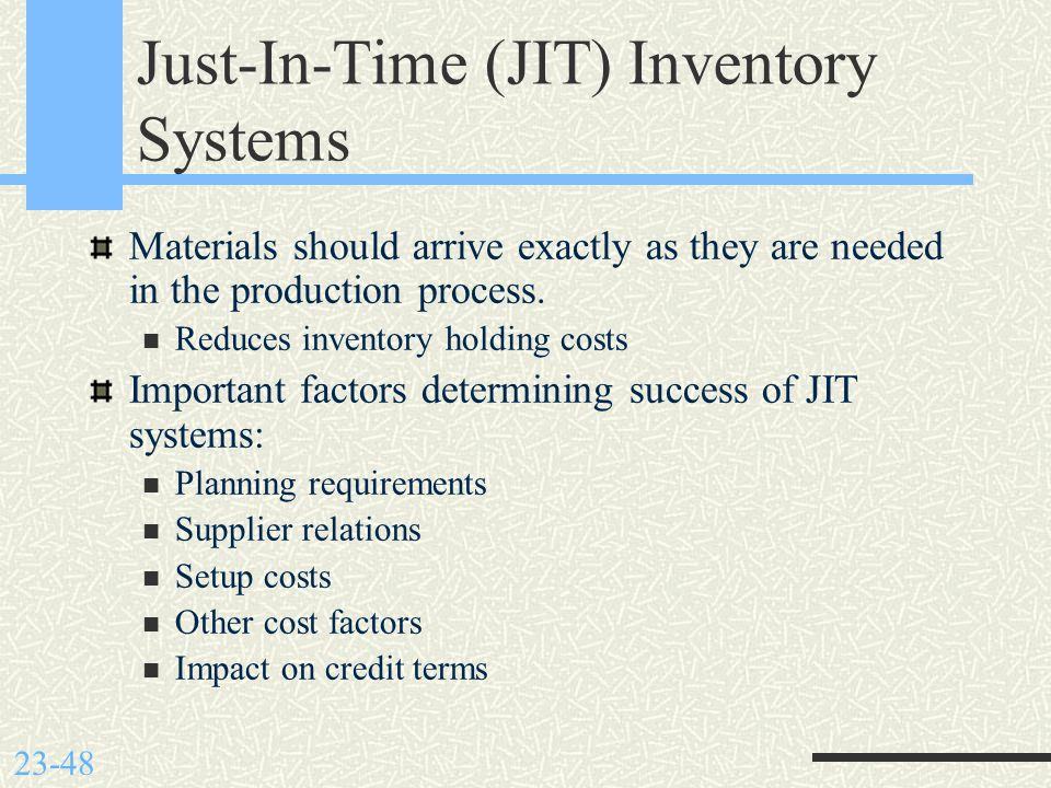 Importance of just in time inventory system