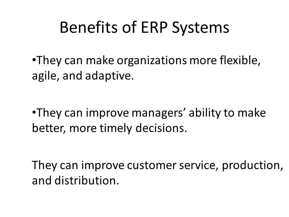 Benefits of ERP Systems