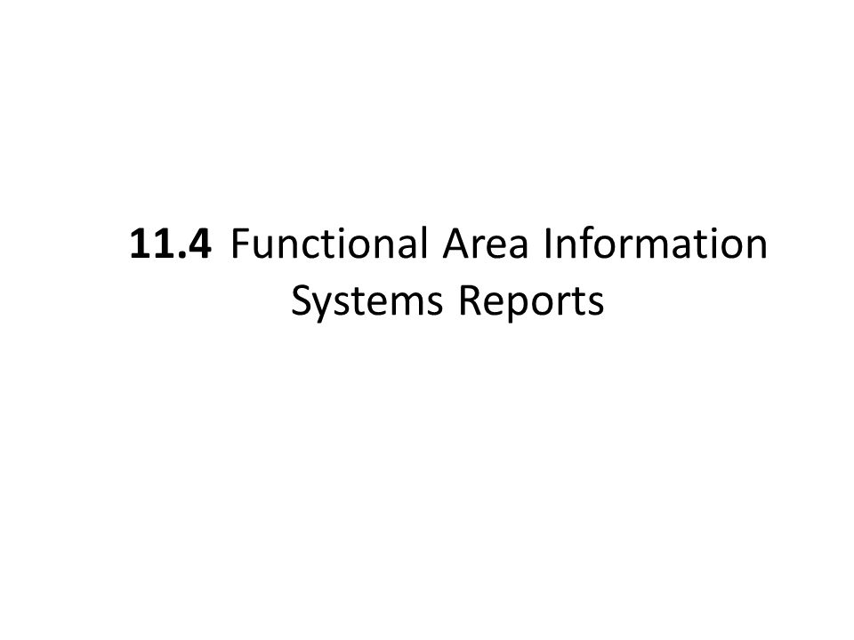 11.4 Functional Area Information Systems Reports