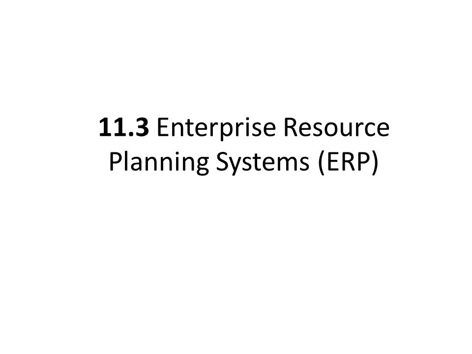 11.3 Enterprise Resource Planning Systems (ERP)