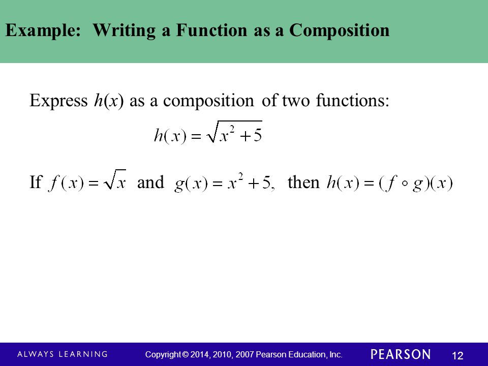 Example: Writing a Function as a Composition