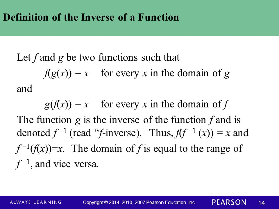 Definition of the Inverse of a Function