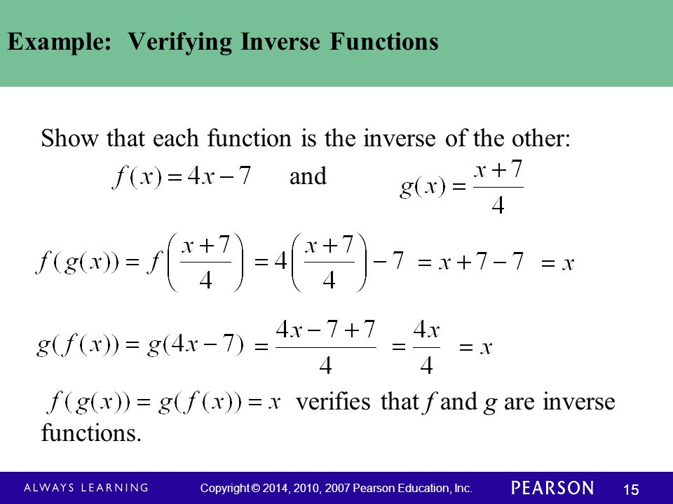 Example: Verifying Inverse Functions
