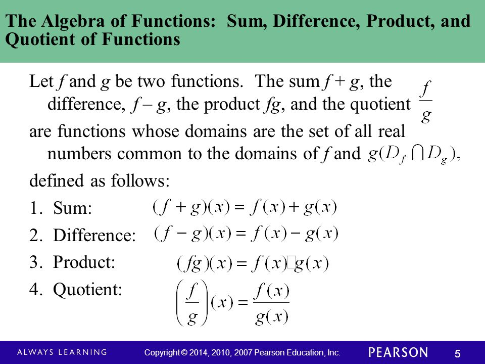 The Algebra of Functions: Sum, Difference, Product, and Quotient of Functions