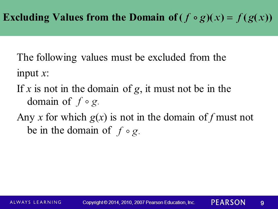 Excluding Values from the Domain of