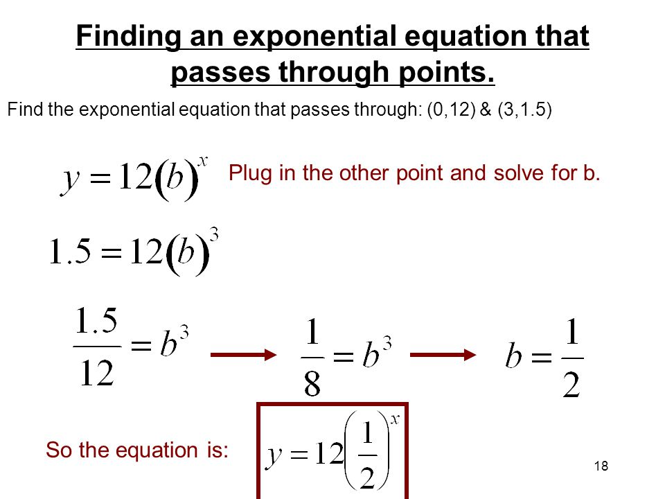 how to write an exponential equation from points