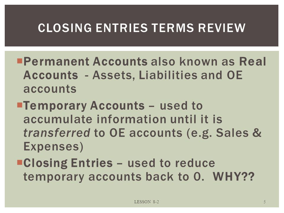 Closing entries TERMS REVIEW
