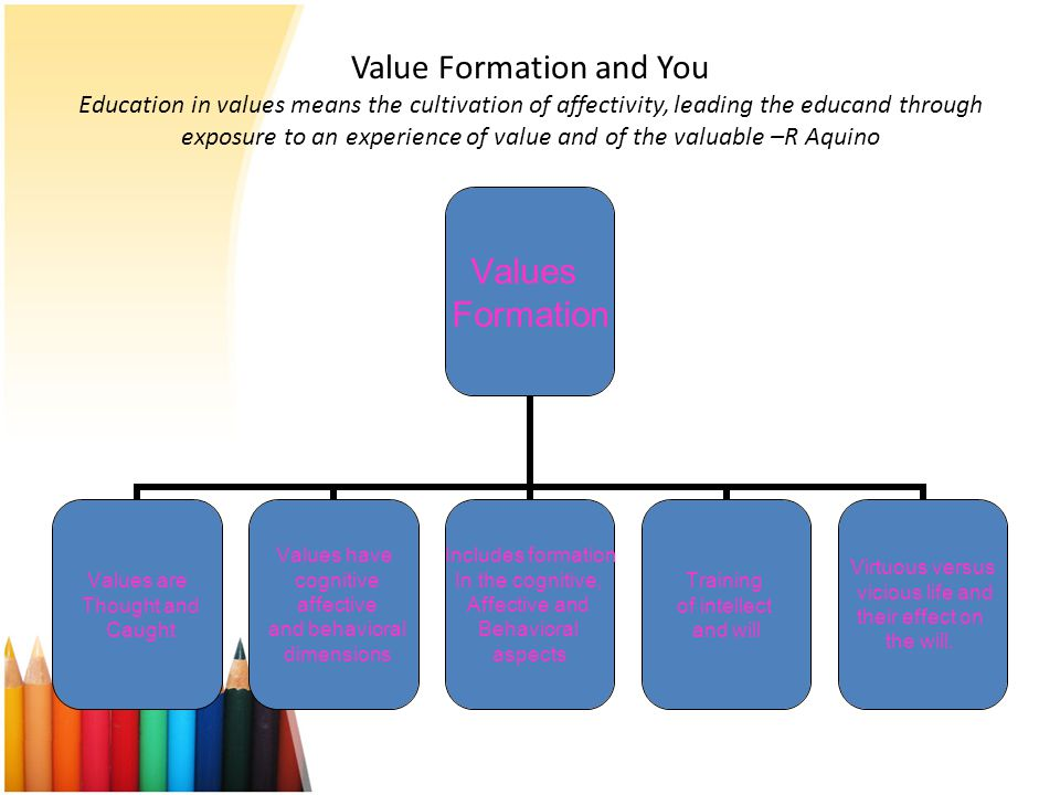 Value Formation and You Education in values means the cultivation of affectivity, leading the educand through exposure to an experience of value and of the valuable –R Aquino
