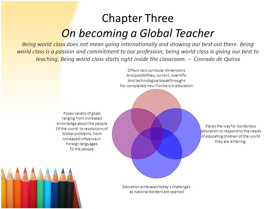 Chapter Three On becoming a Global Teacher Being world class does not mean going internationally and showing our best out there.