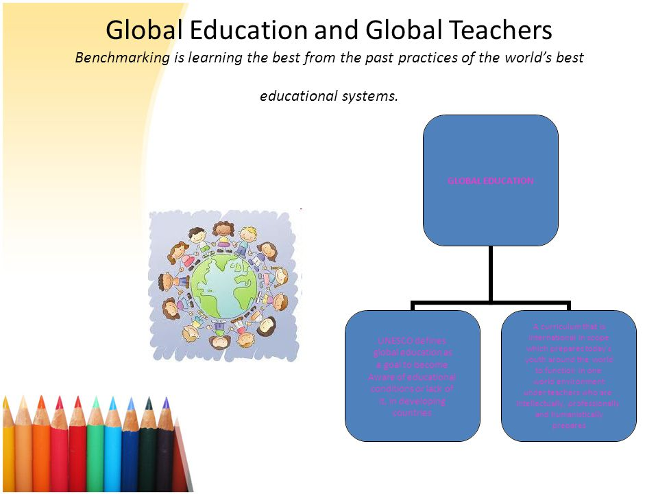Global Education and Global Teachers Benchmarking is learning the best from the past practices of the world's best educational systems.