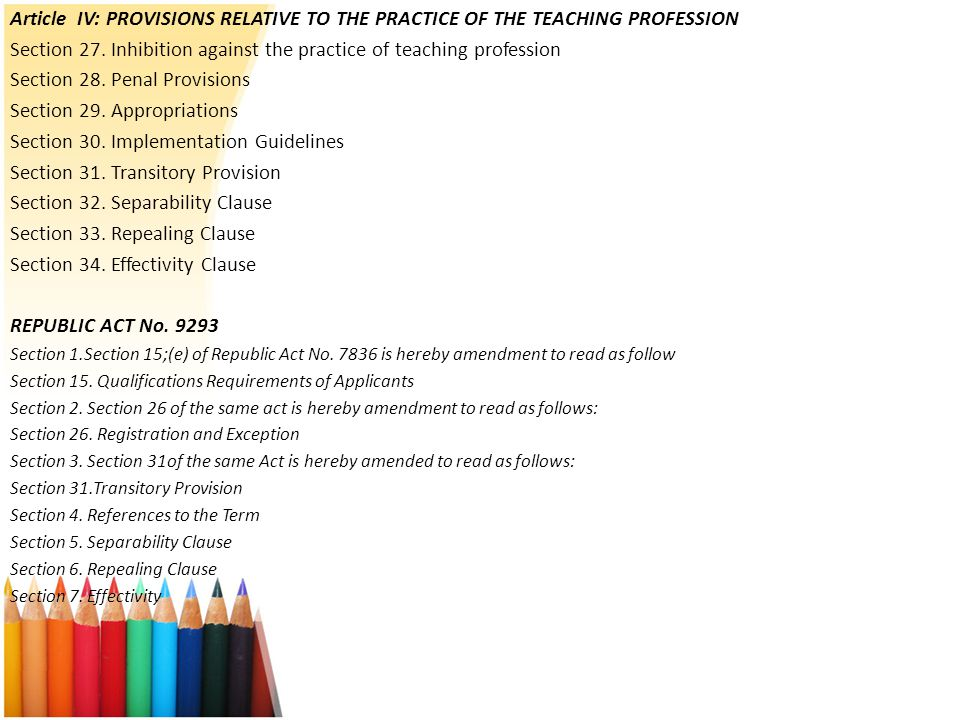 Section 27. Inhibition against the practice of teaching profession